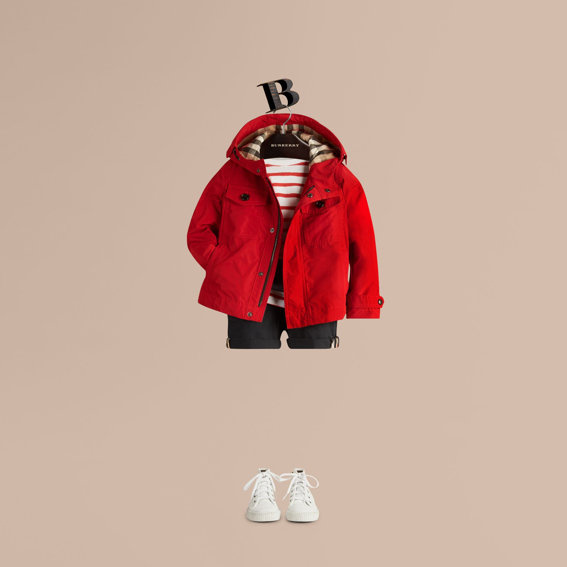 Hooded Field Jacket in Military Red - Boy | Burberry - gallery image 1