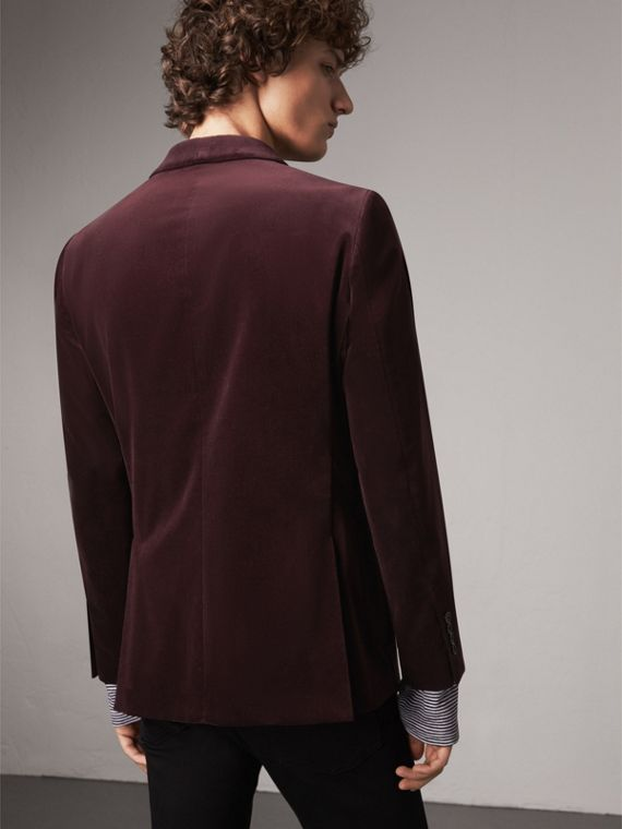Soho Fit Velvet Tailored Jacket in Blackcurrant - Men | Burberry - cell image 2