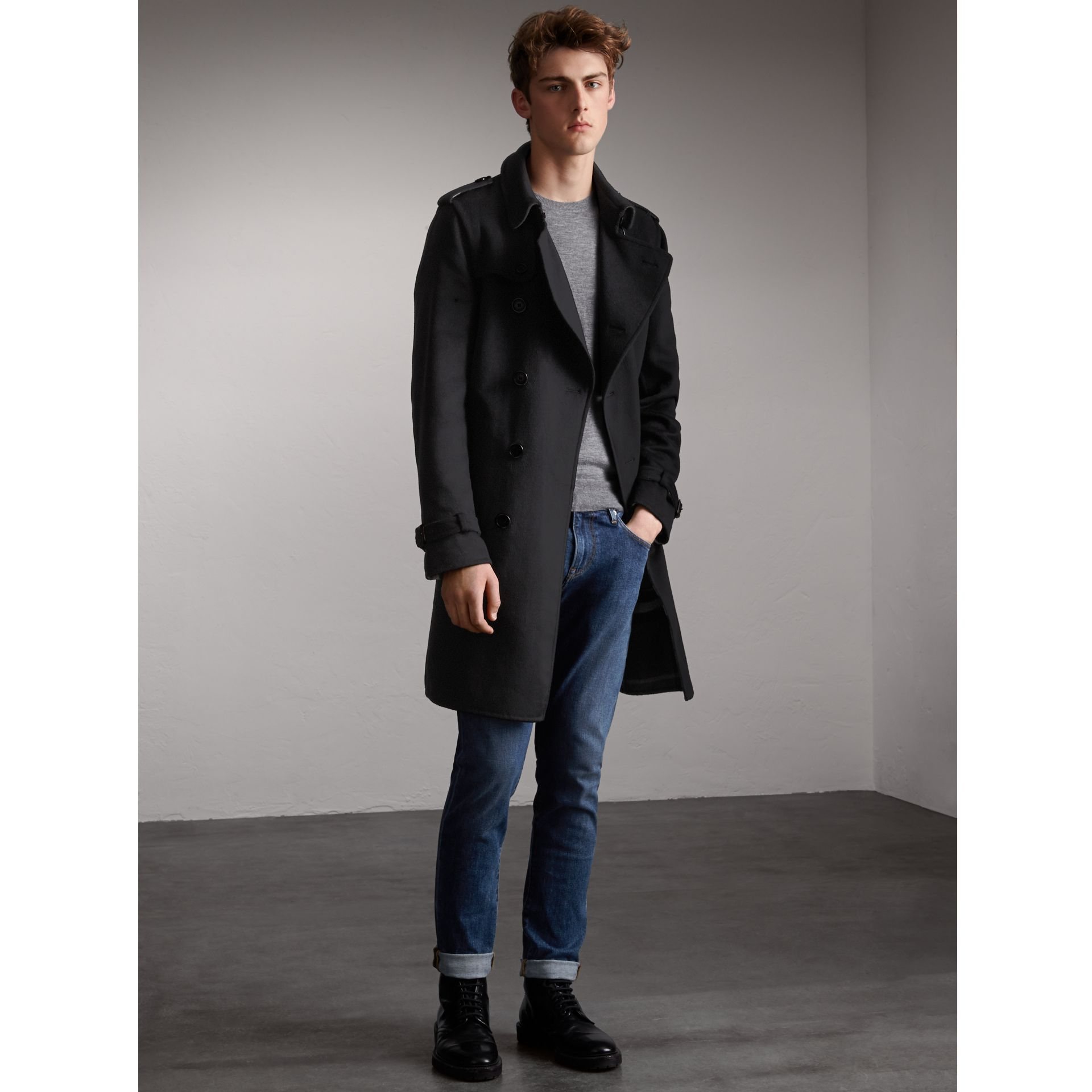 Cashmere Wool Trench Coat in Black - Men | Burberry - gallery image 1