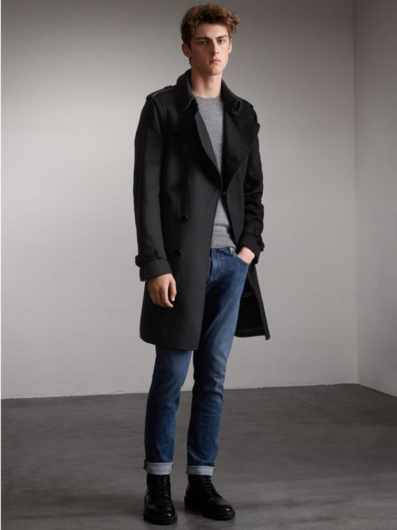 Cashmere Wool Trench Coat in Black
