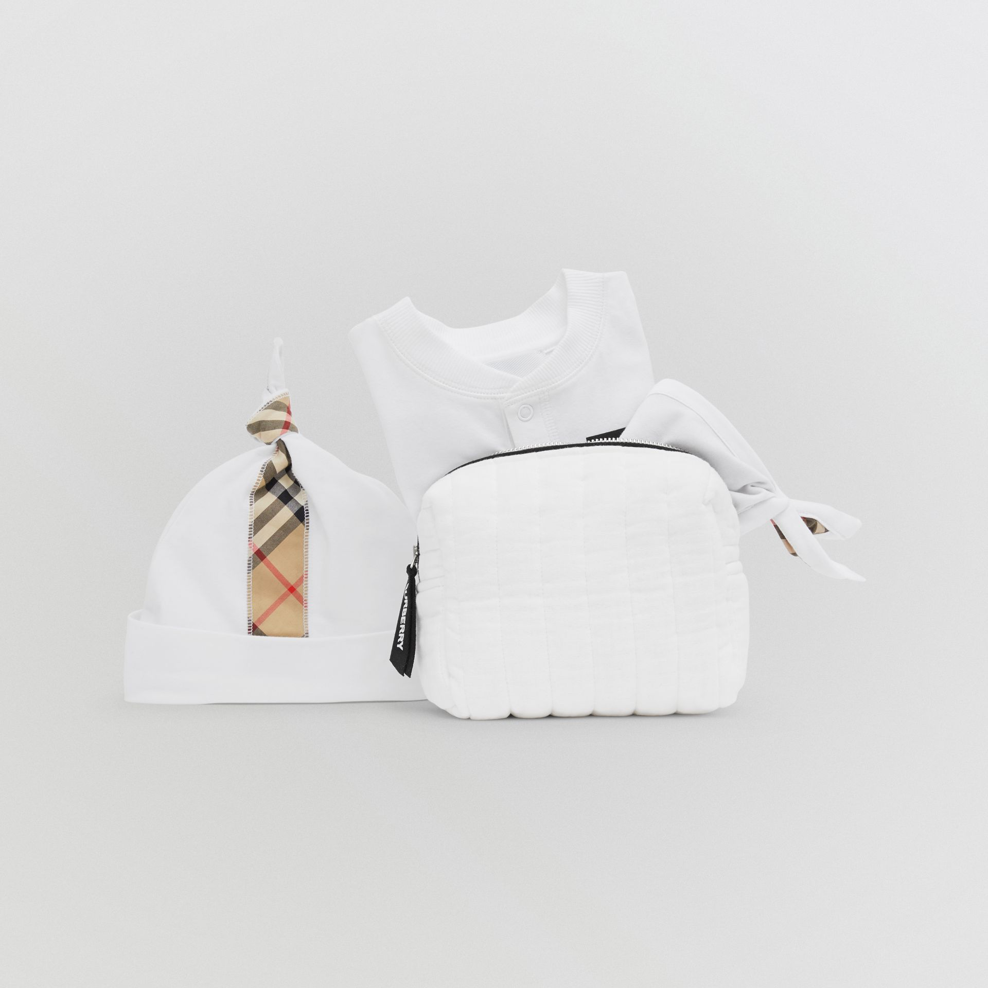 Check Trim Organic Cotton Three-piece Baby Gift Set in White - Children | Burberry United Kingdom - gallery image 11
