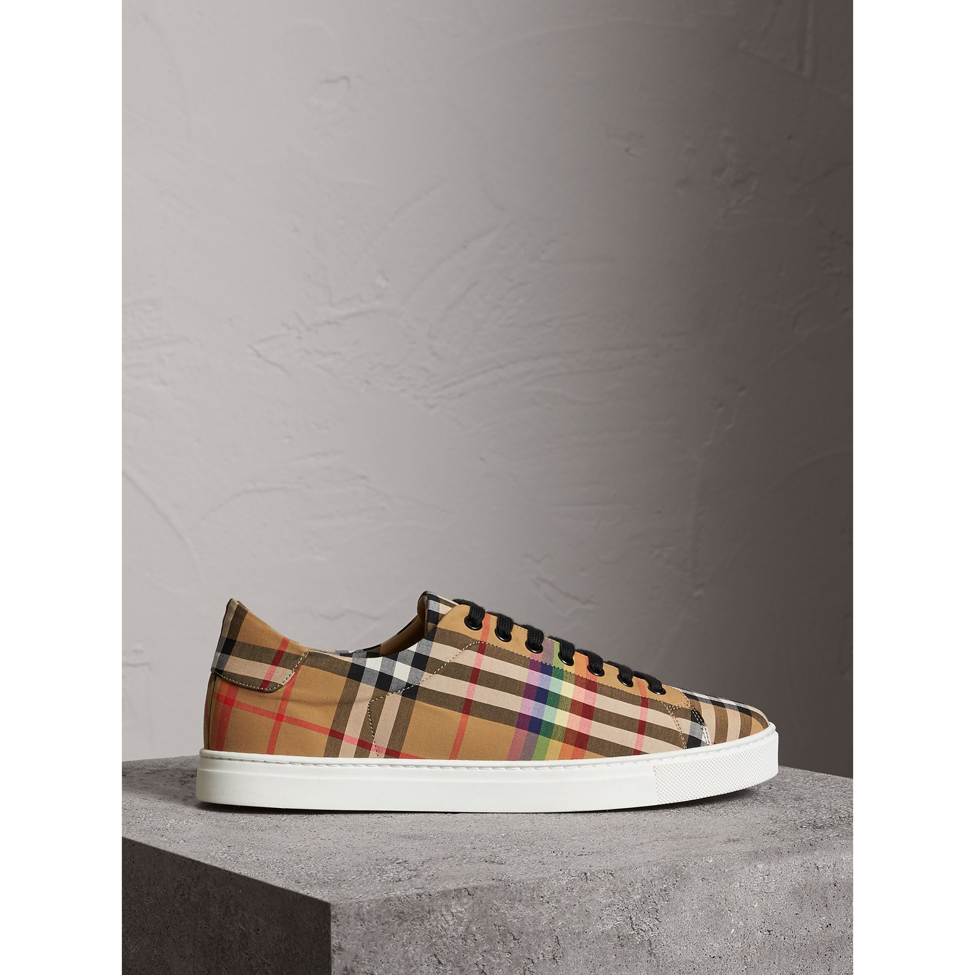 Rainbow Vintage Check Sneakers in Antique Yellow - Men | Burberry Australia - gallery image 4
