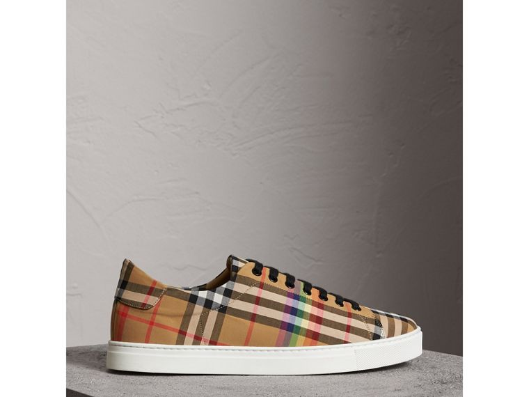 Rainbow Vintage Check Sneakers in Antique Yellow - Men | Burberry Singapore - cell image 4