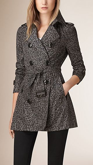 Leather Trim Raindrop Print Technical Trench Coat