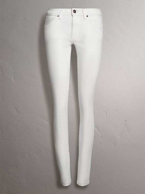 Skinny Fit Low-Rise White Jeans - Women | Burberry Hong Kong - cell image 3