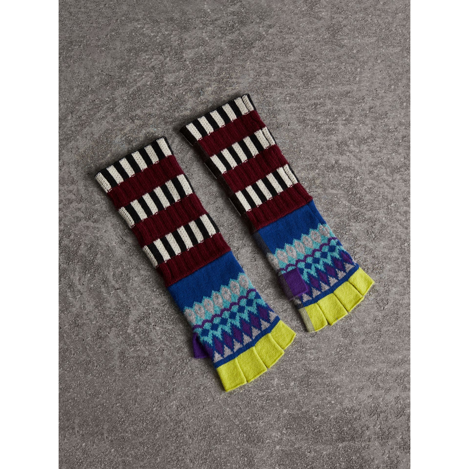 Striped Fair Isle Cashmere Wool Fingerless Gloves in Bright Blue | Burberry - gallery image 1