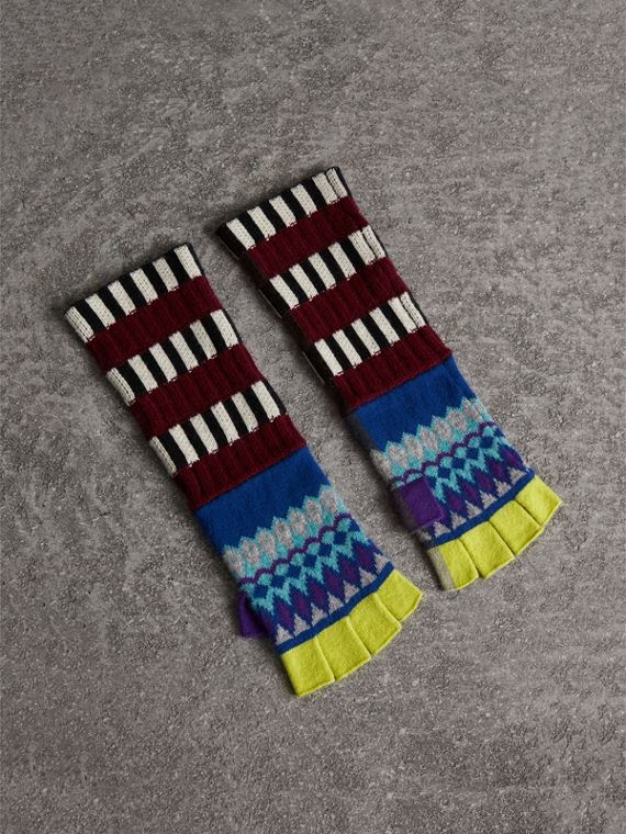 Striped Fair Isle Cashmere Wool Fingerless Gloves in Bright Blue