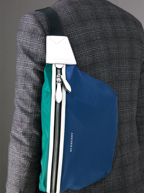 Large Tri-tone Nylon and Leather Bum Bag in Dark Canvas Blue - Men | Burberry Hong Kong - cell image 3
