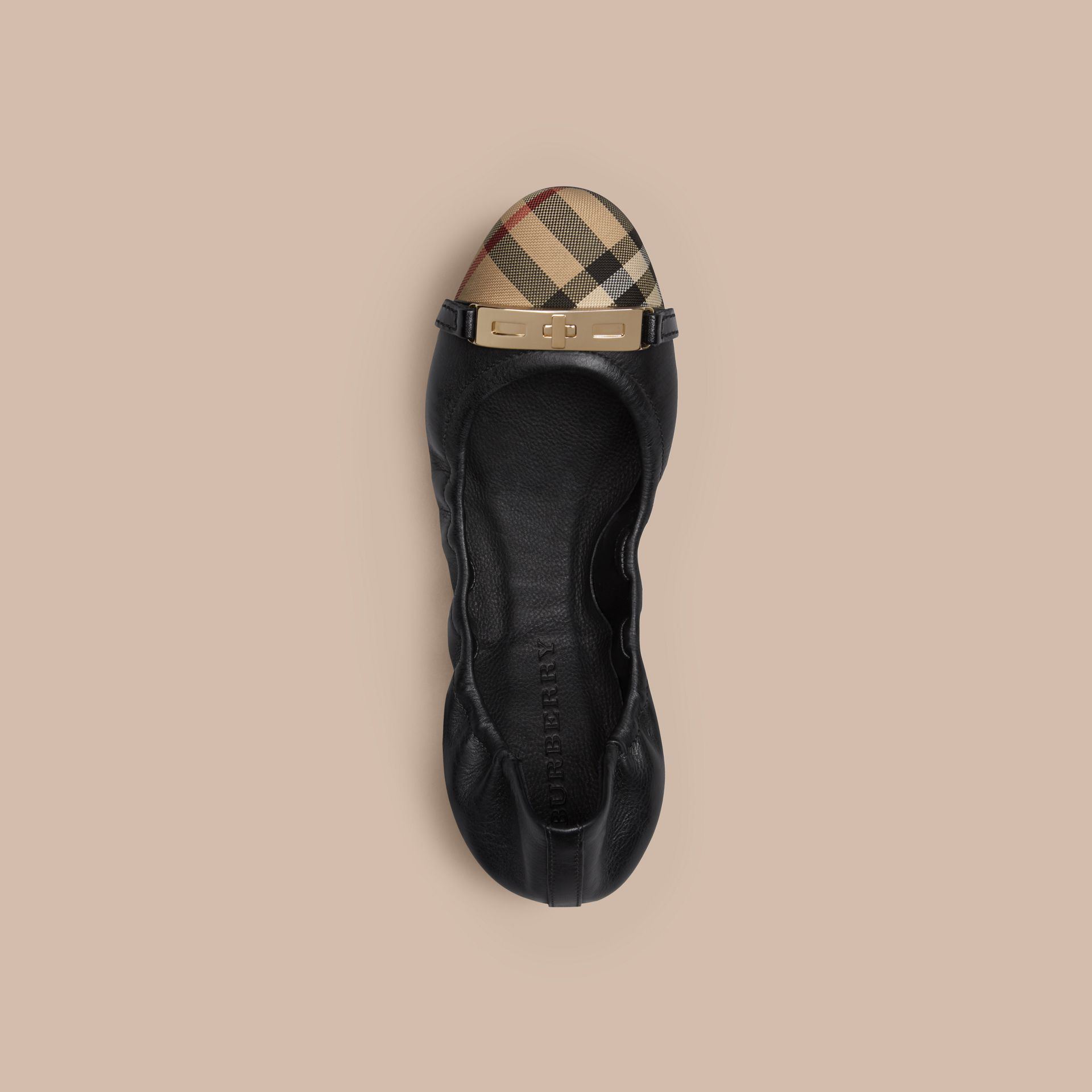 Horseferry Check Leather Ballerinas in Black - Women | Burberry - gallery image 3