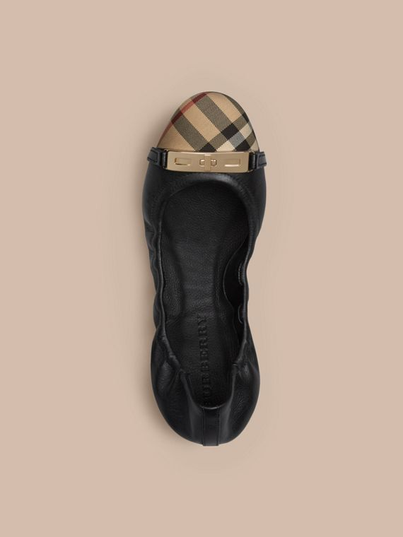Horseferry Check Leather Ballerinas in Black - Women | Burberry - cell image 2