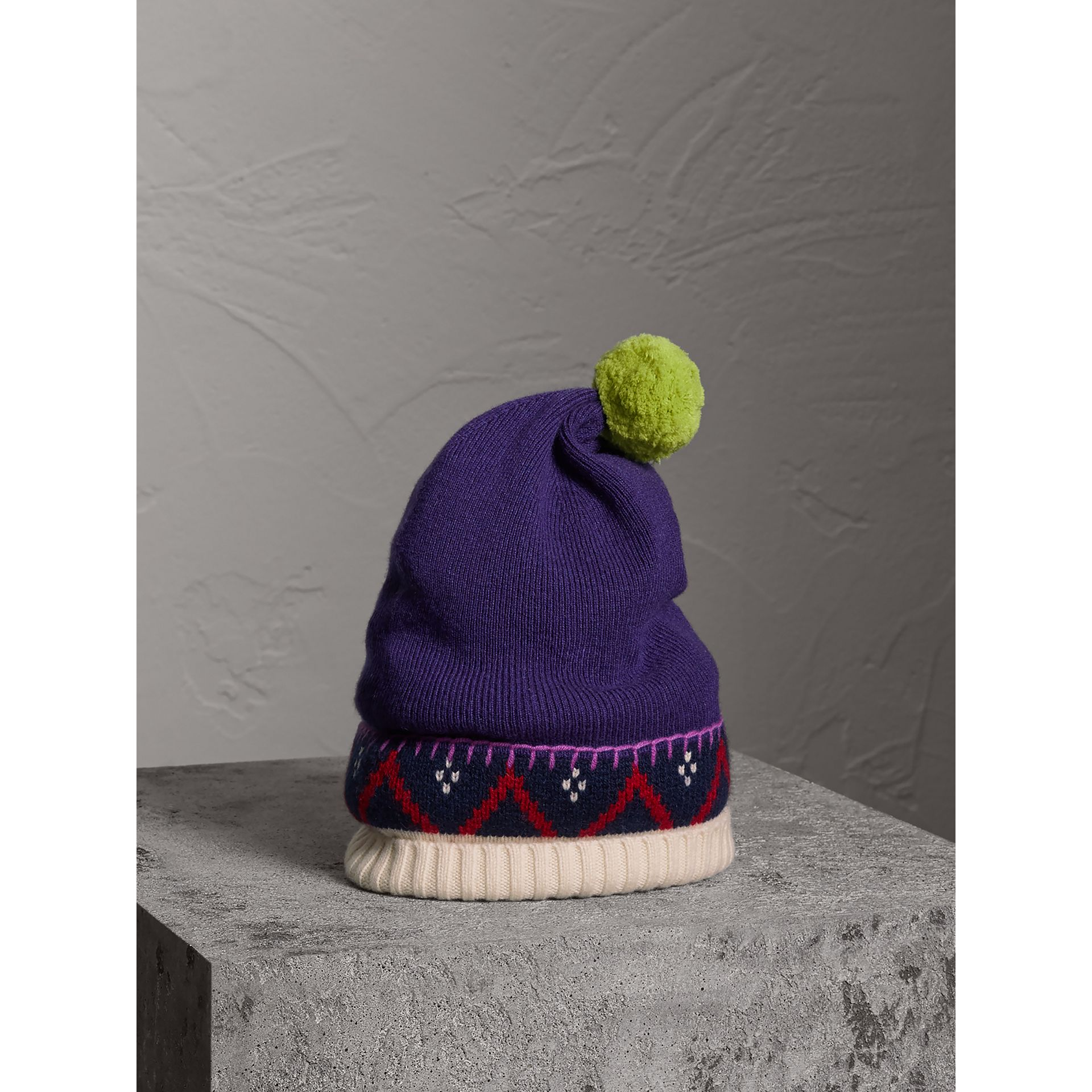 Pom-pom Cashmere Wool Beanie in Purple Grape | Burberry - gallery image 0