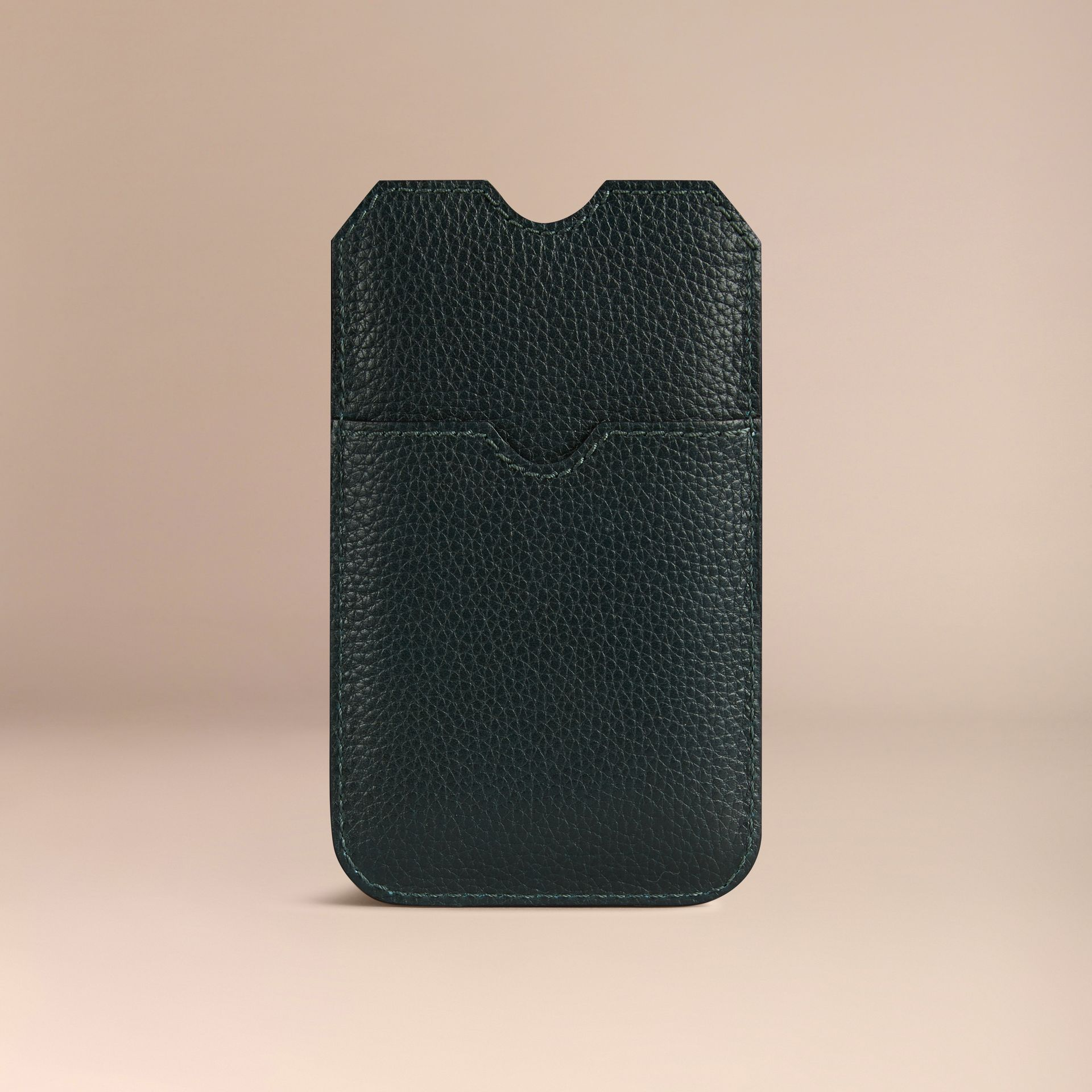 Grainy Leather iPhone 5/5S Case in Dark Forest Green | Burberry - gallery image 2