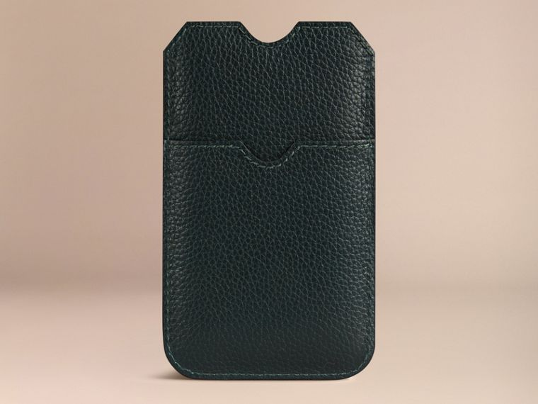 Grainy Leather iPhone 5/5S Case in Dark Forest Green | Burberry - cell image 1