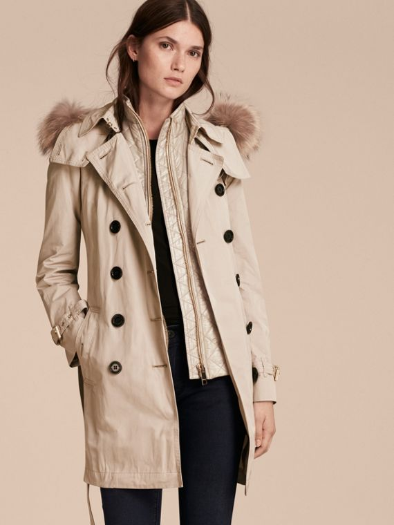 Fur-trimmed Hood Trench Coat with Detachable Gilet Stone