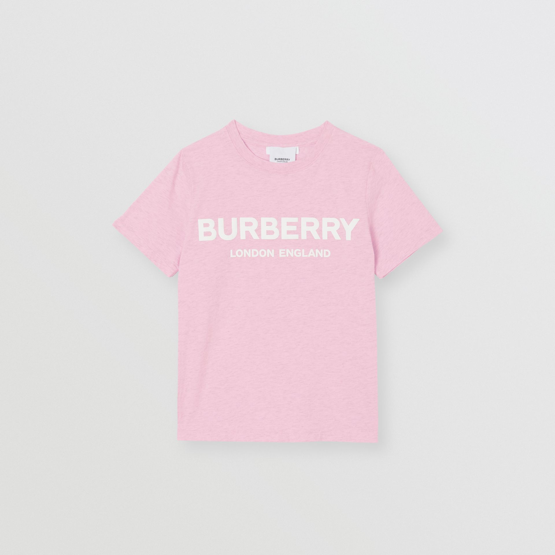 Logo Print Cotton T-shirt in Pale Neon Pink | Burberry - gallery image 0