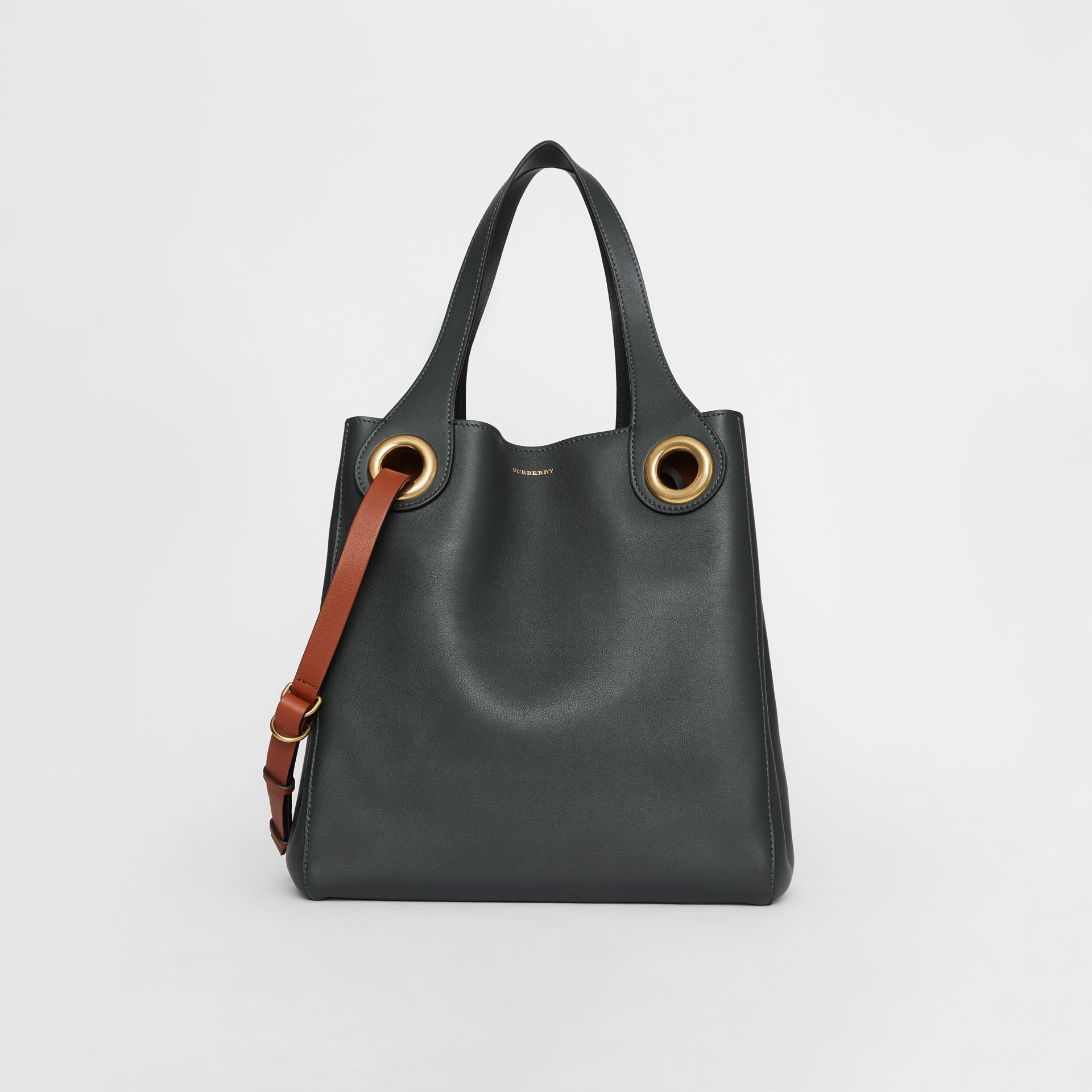 The Leather Grommet Detail Tote in Dark Emerald - Women | Burberry United States - gallery image 0