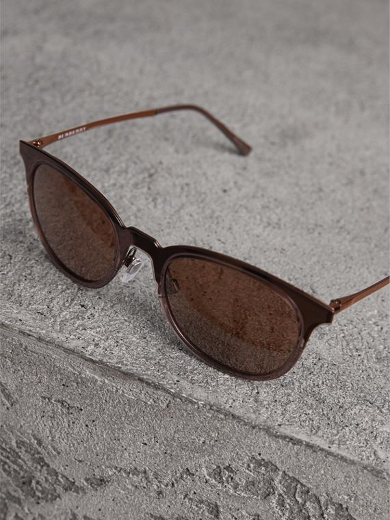 Round Frame Sunglasses in Burnt Orange - Men | Burberry Canada - cell image 2