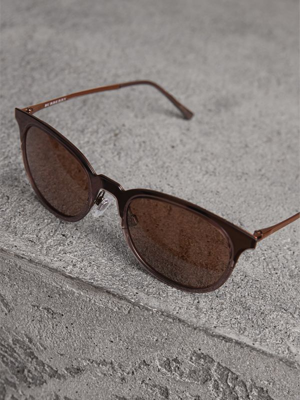 Round Frame Sunglasses in Burnt Orange - Men | Burberry - cell image 2