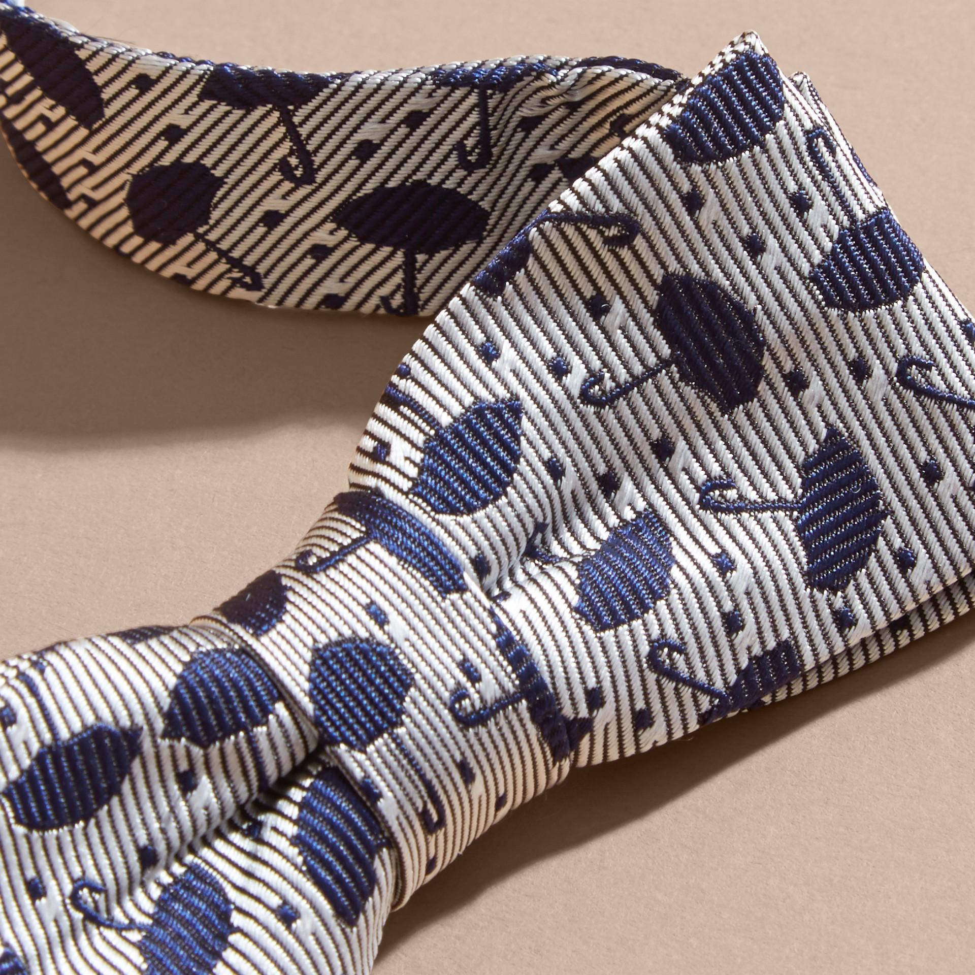 Umbrella Motif Metallic Silk Bow Tie - gallery image 2