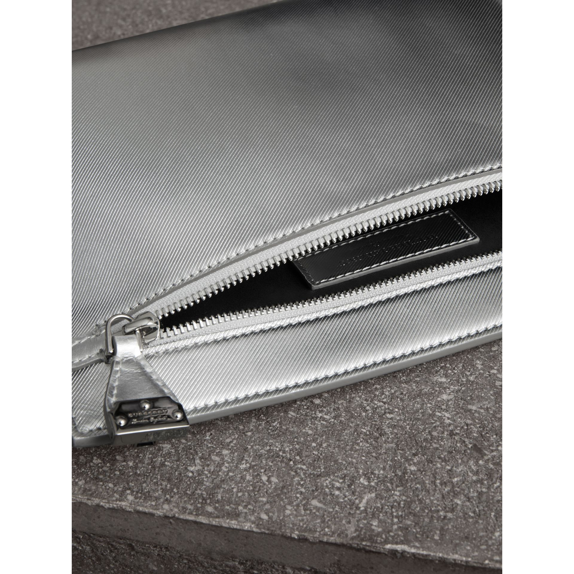 Metallic Trench Leather Pouch in Silver - Women | Burberry - gallery image 5