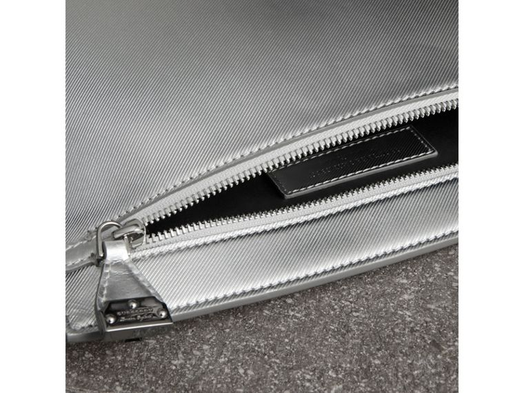 Metallic Trench Leather Pouch in Silver - Women | Burberry United States - cell image 4