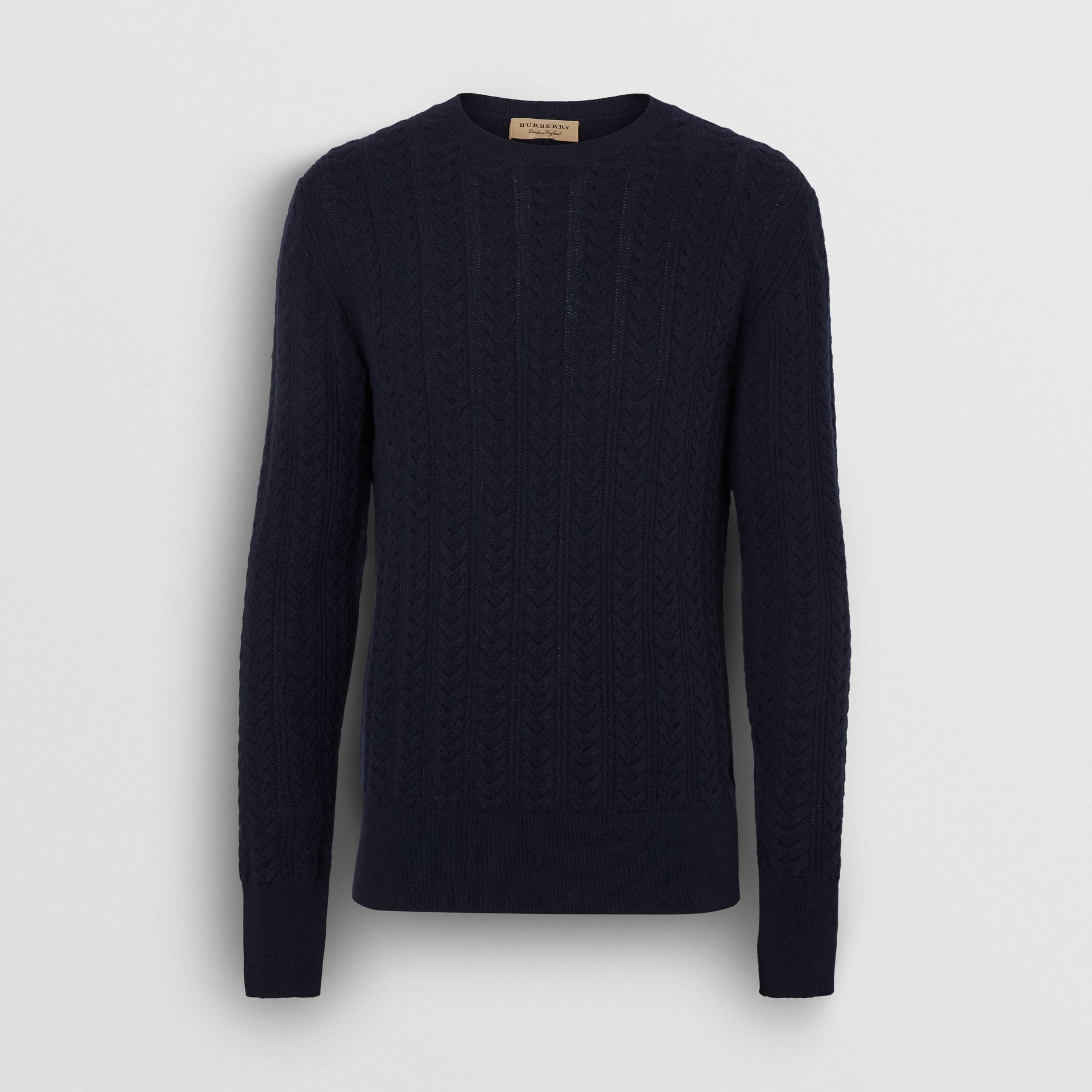Cable Knit Cashmere Sweater in Navy - Men | Burberry United Kingdom - gallery image 3