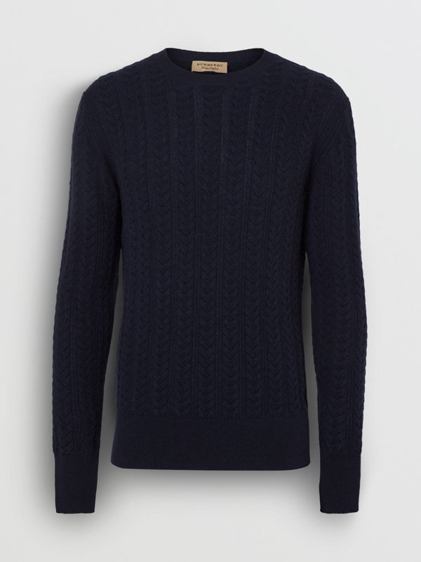 Cable Knit Cashmere Sweater in Navy - Men | Burberry United Kingdom - cell image 3
