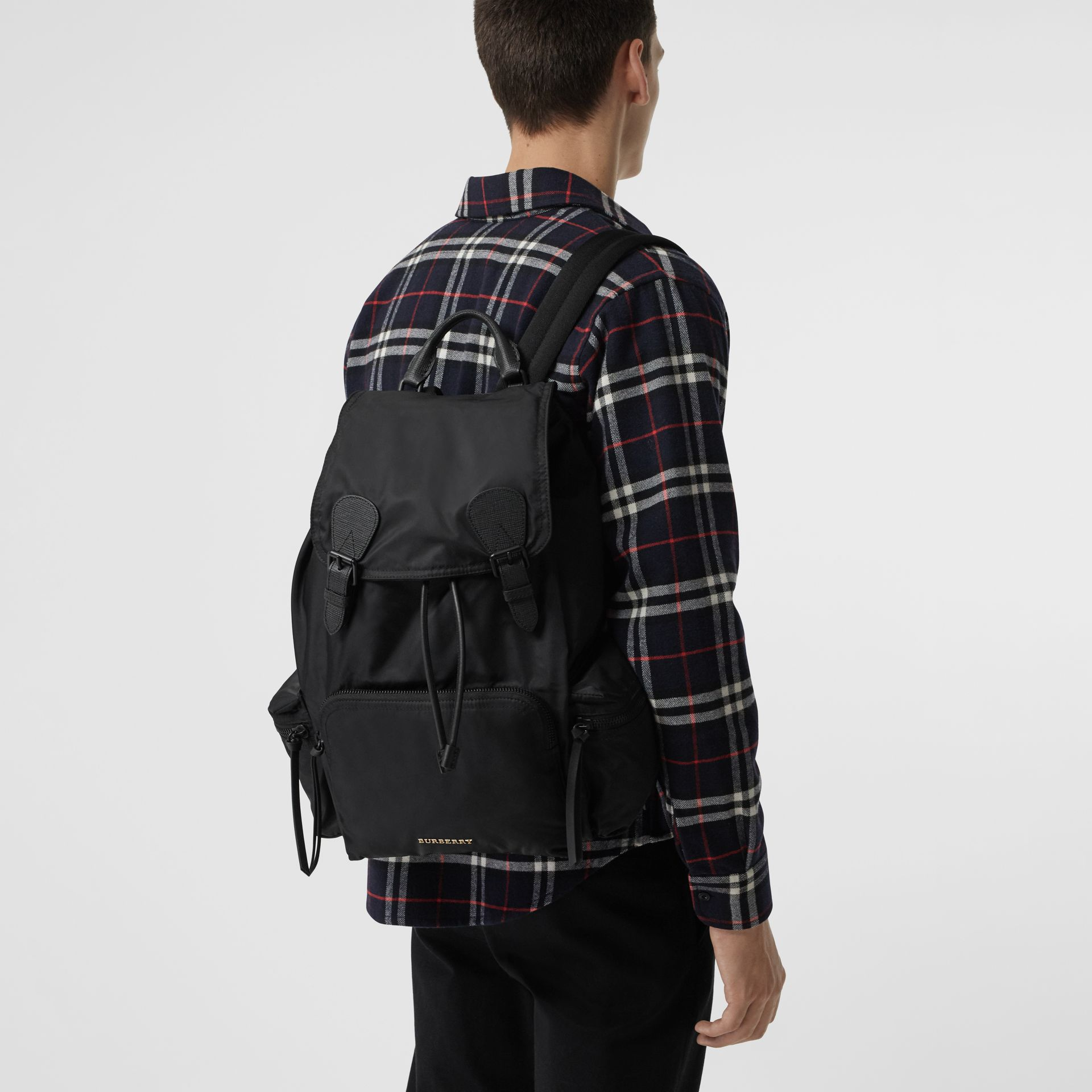 The Large Rucksack in Technical Nylon and Leather in Black - Men | Burberry Hong Kong - gallery image 3