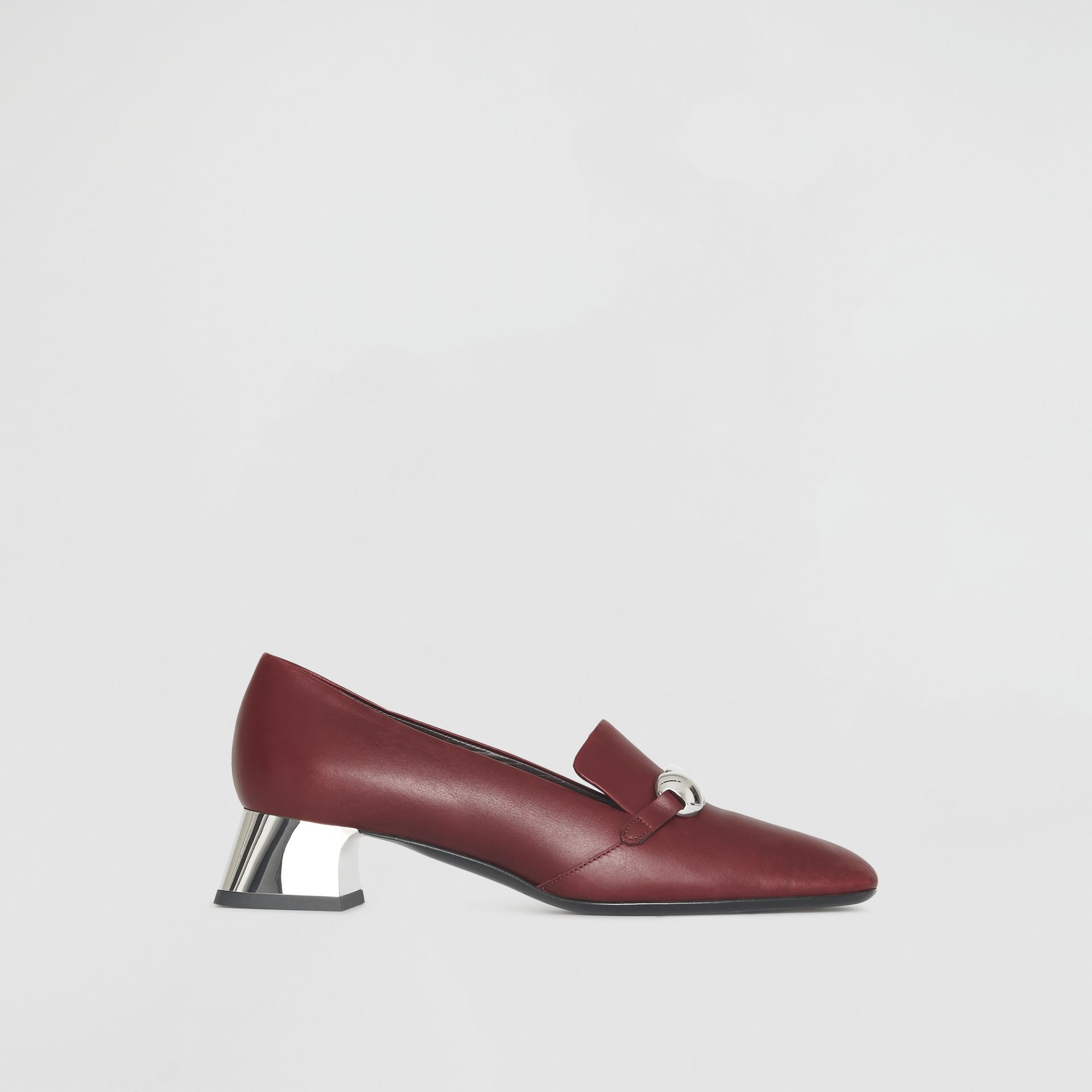 Studded Bar Detail Leather Pumps in Bordeaux - Women | Burberry - gallery image 0