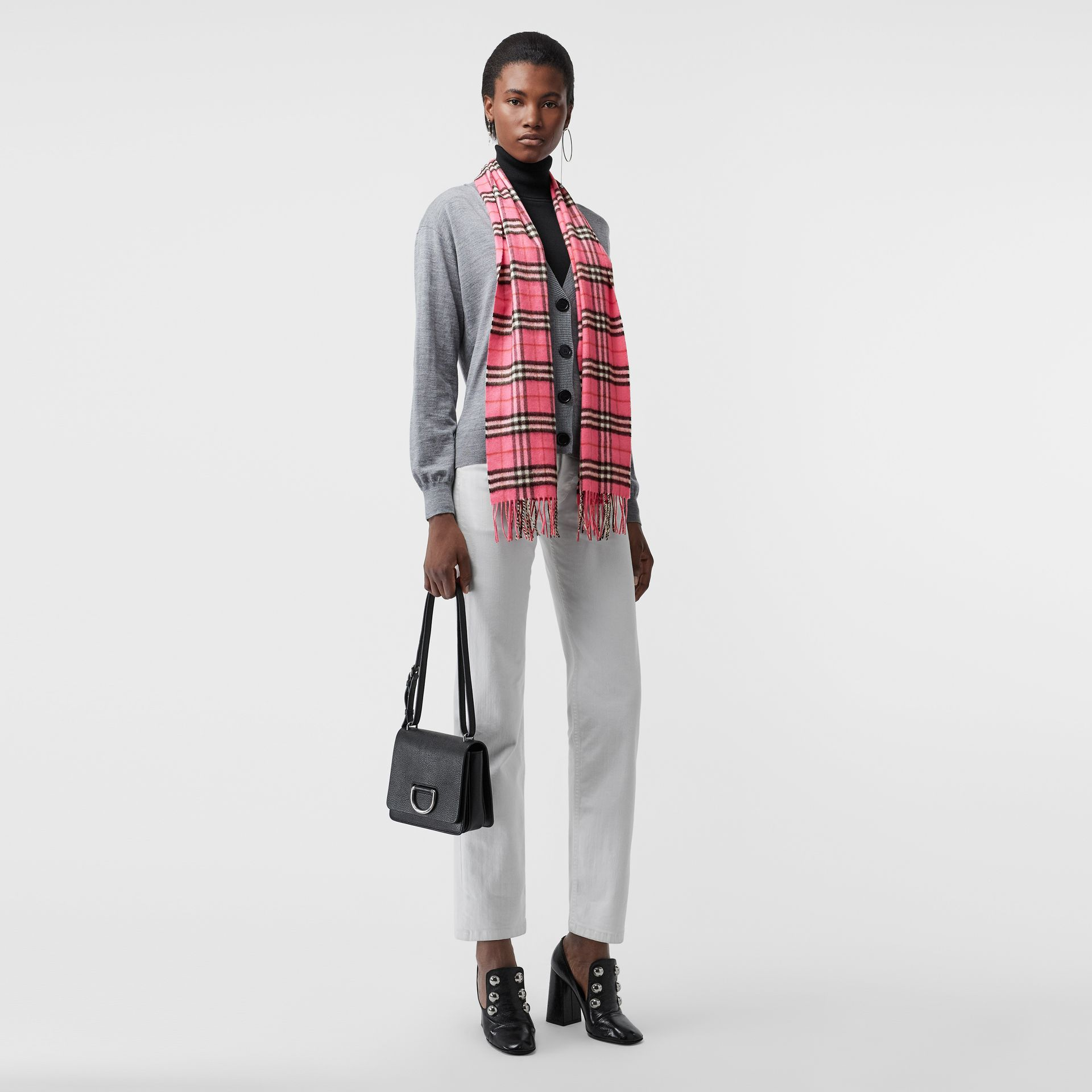 The Classic Vintage Check Cashmere Scarf in Bright Pink | Burberry United States - gallery image 2