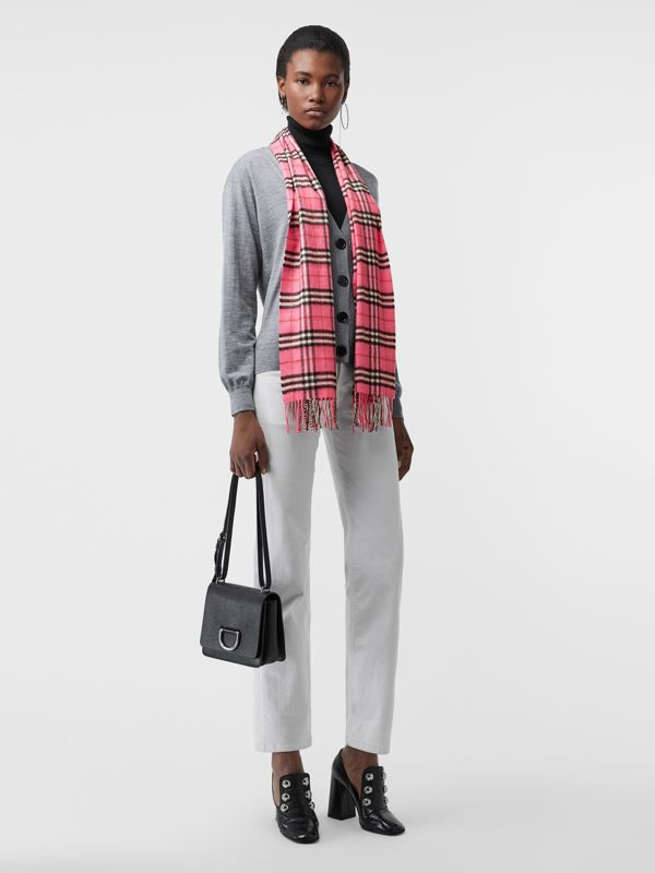 The Classic Vintage Check Cashmere Scarf in Bright Pink | Burberry United States - cell image 2
