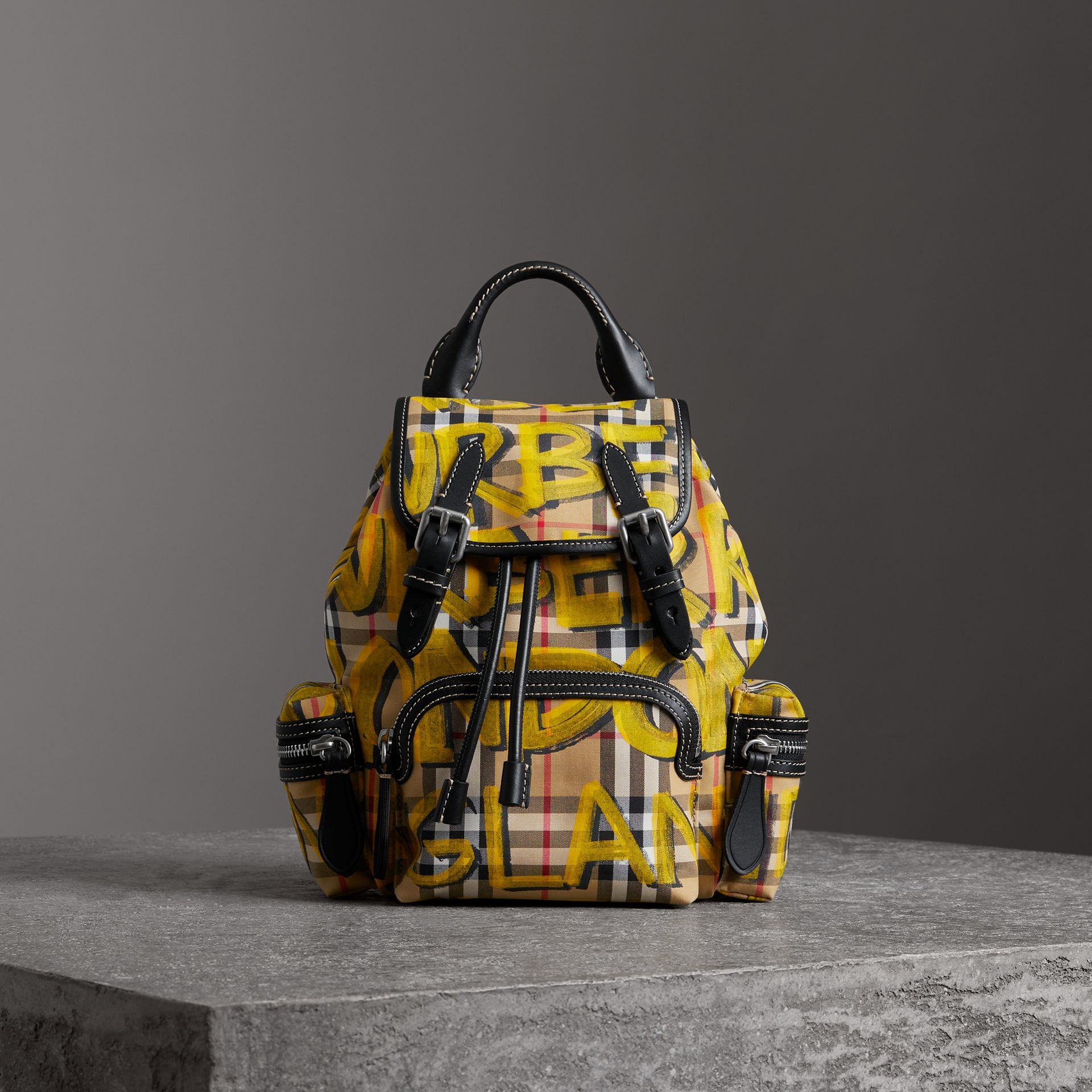 The Small Crossbody Rucksack in Graffiti Print Vintage Check in Black - Women | Burberry Canada - gallery image 6