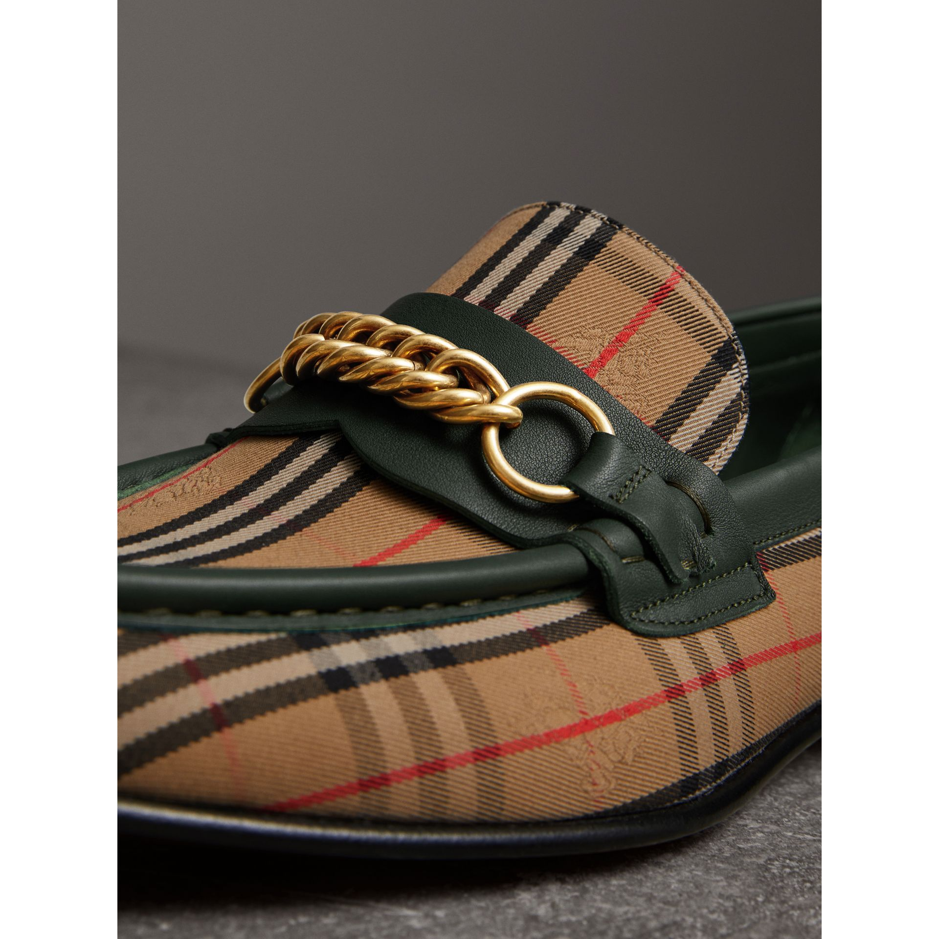 The 1983 Check Link Loafer in Dark Forest Green | Burberry - gallery image 1