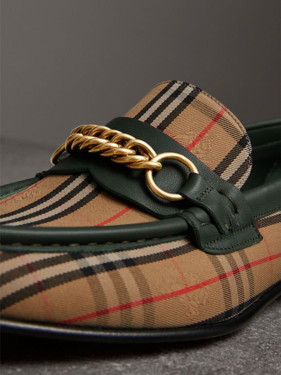 The 1983 Check Link Loafer in Dark Forest Green | Burberry - cell image 1