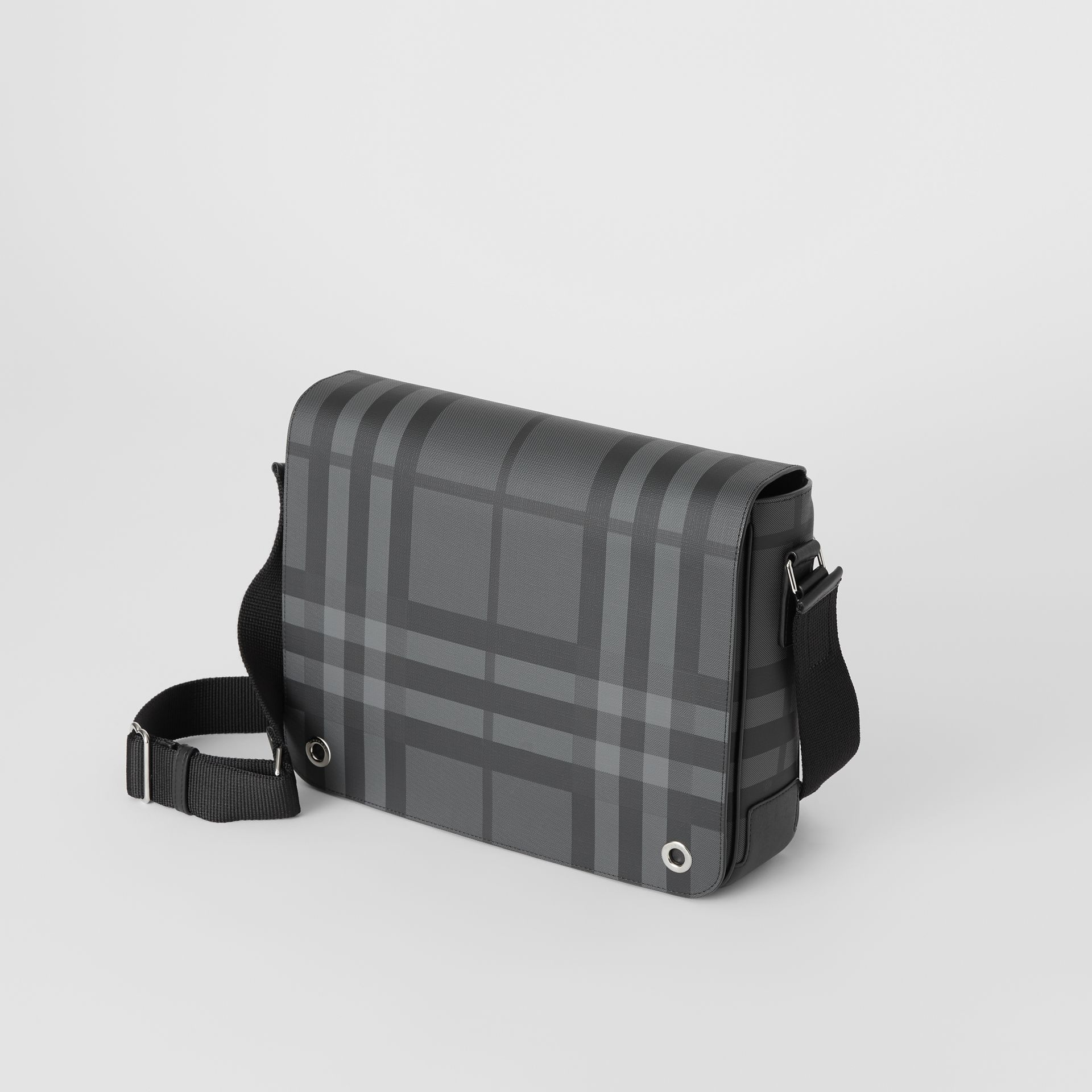 Small London Check Satchel in Charcoal/black - Men | Burberry - gallery image 4