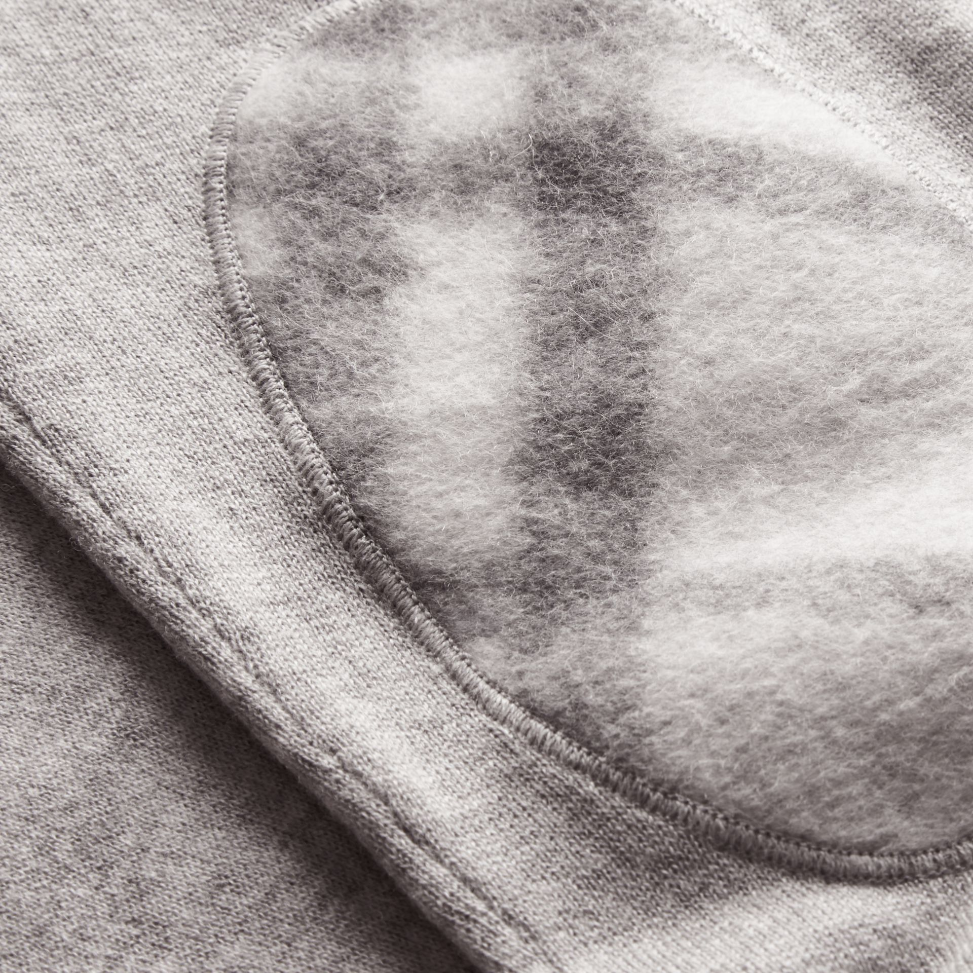 Check Trim Cashmere Cotton Sweater in Pale Grey Melange - Men | Burberry - gallery image 1
