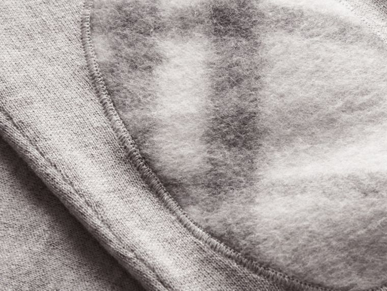 Check Trim Cashmere Cotton Sweater in Pale Grey Melange - cell image 1