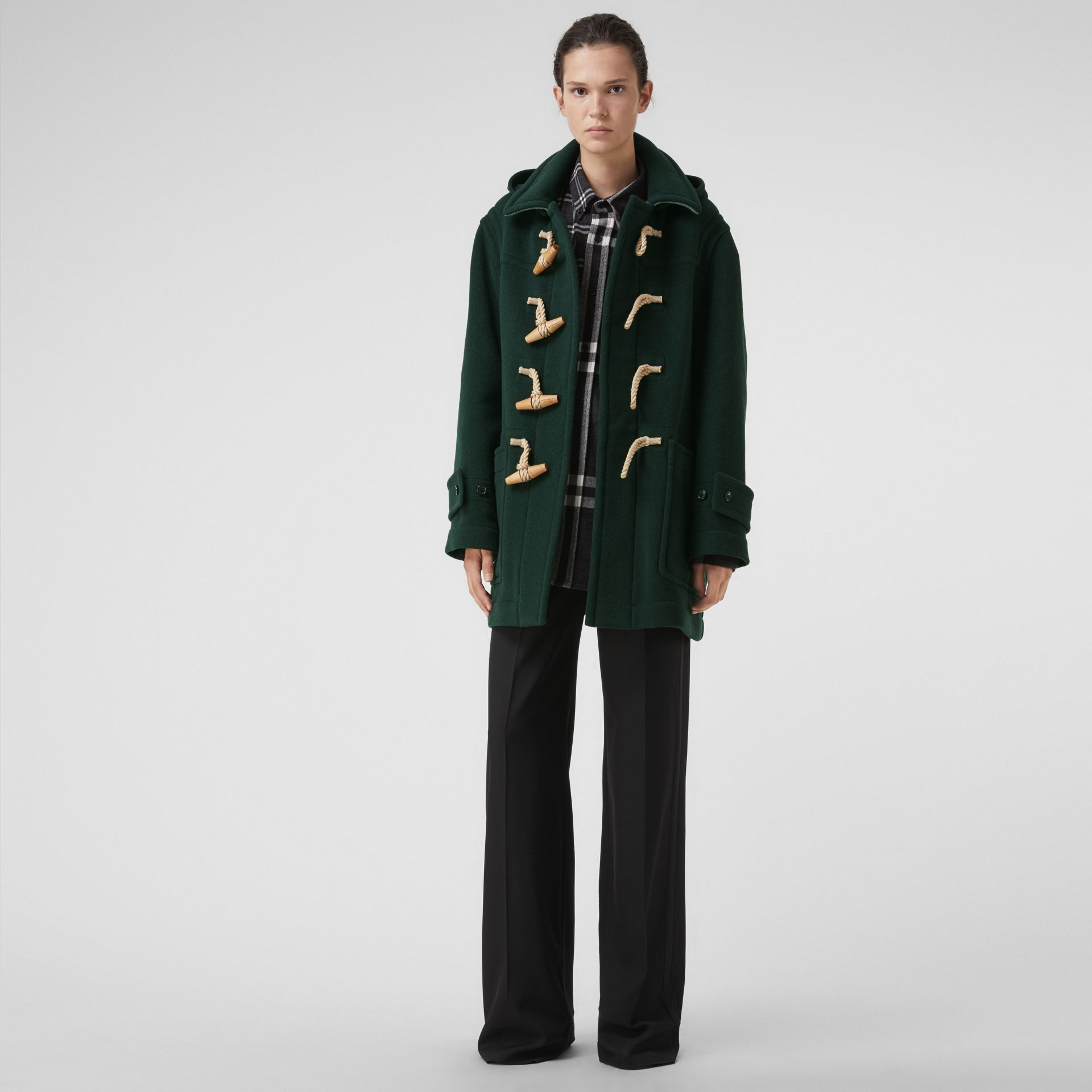 Gosha x Burberry Oversized Duffle Coat in Dark Forest Green | Burberry - gallery image 2