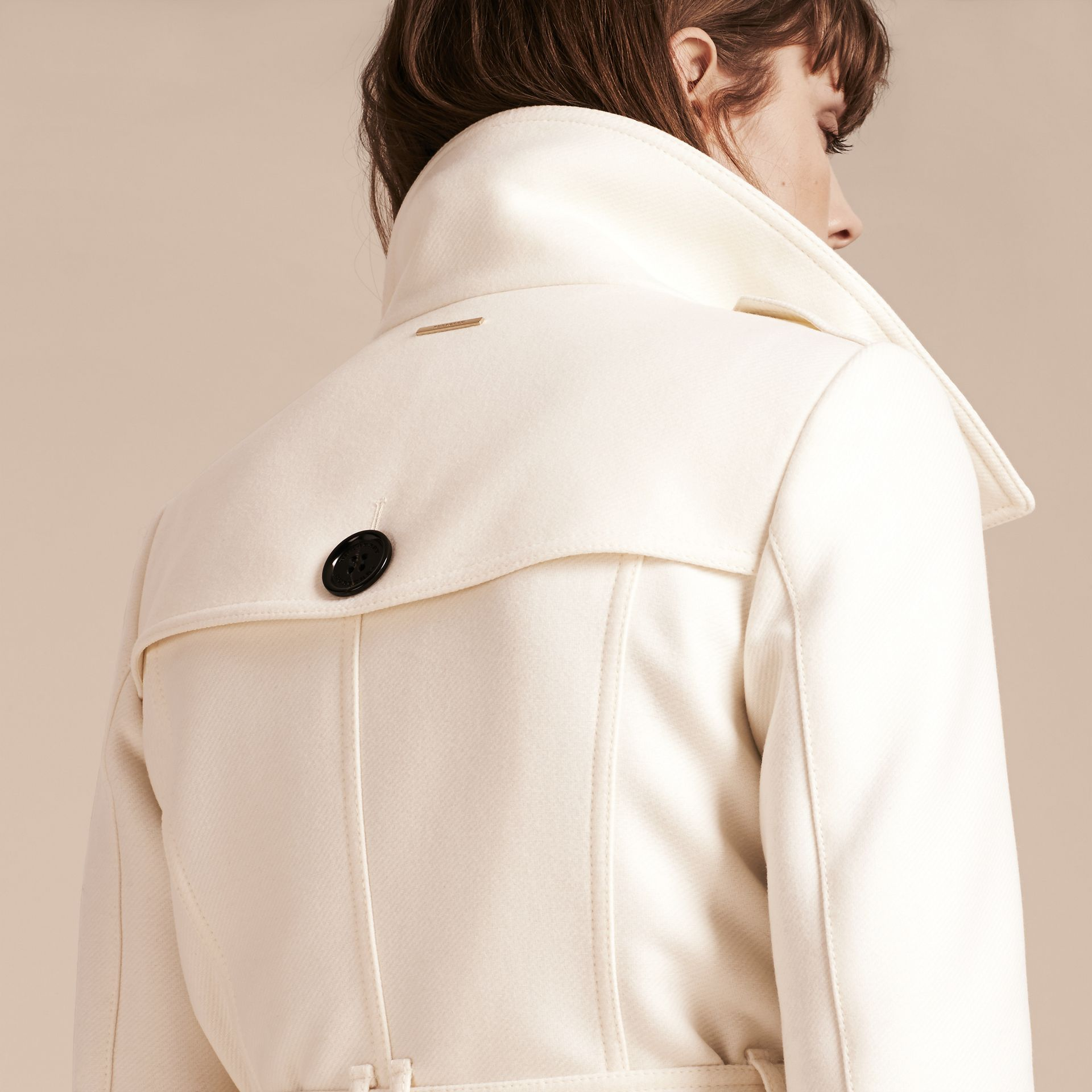 Natural white Technical Wool Cashmere Funnel Neck Coat Natural White - gallery image 5