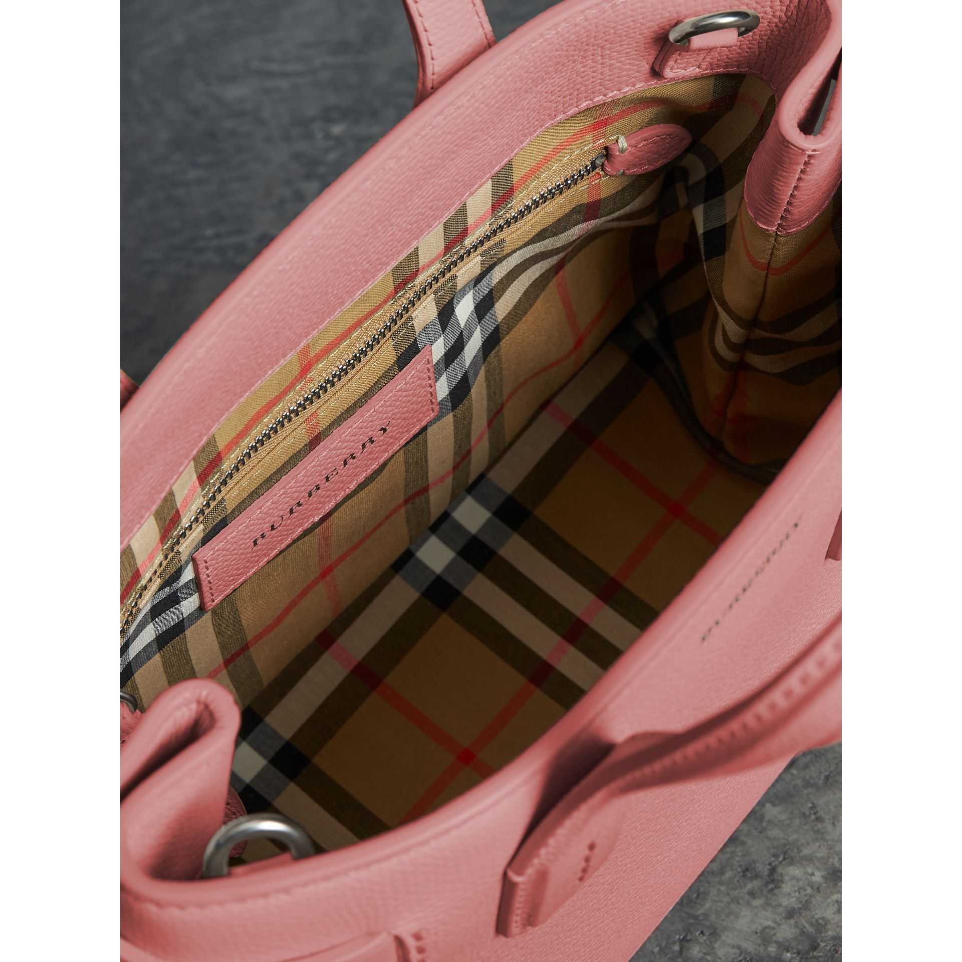 The Small Banner in Leather and Vintage Check in Dusty Rose - Women | Burberry - gallery image 3