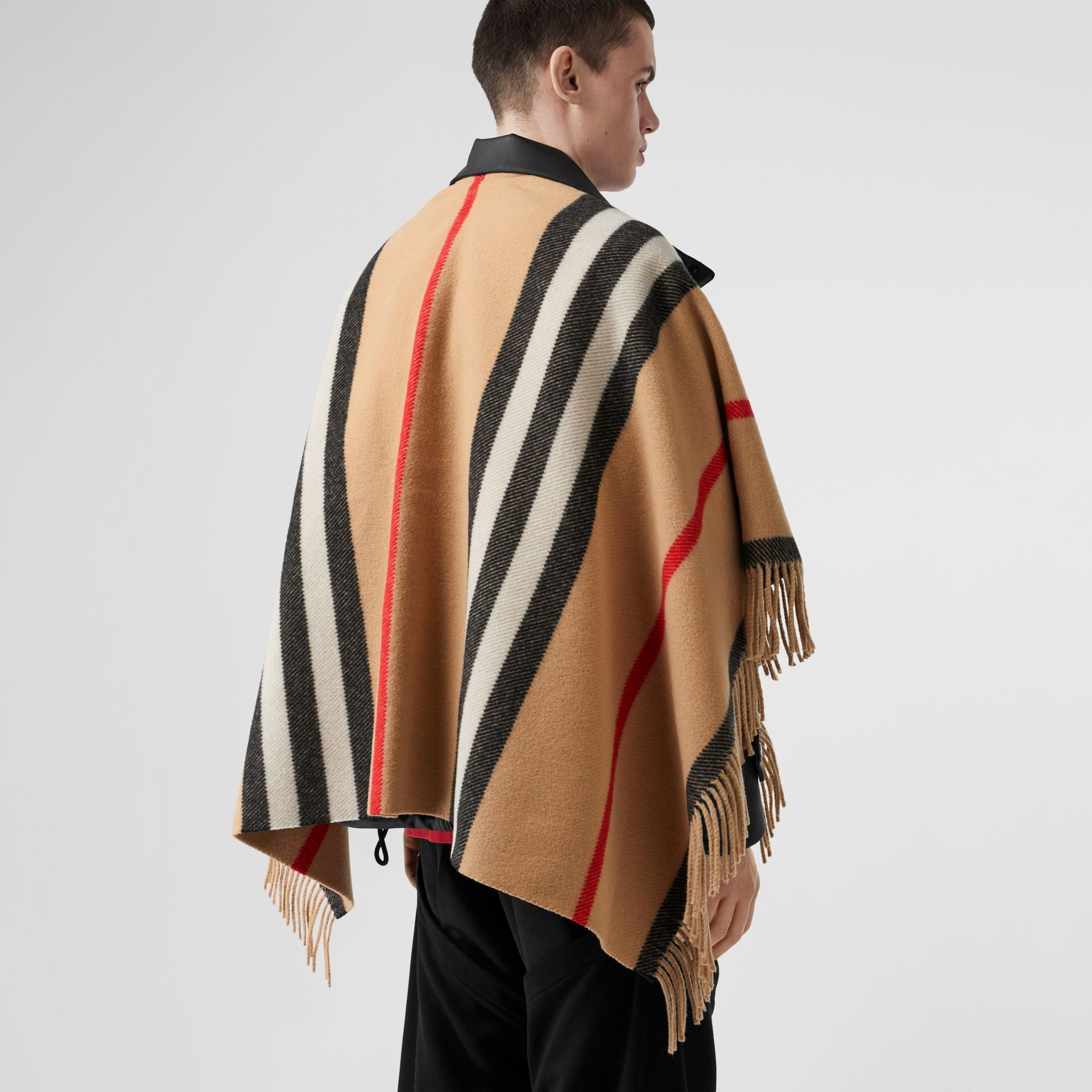 Striped Wool Cape in Camel - Women | Burberry - gallery image 8