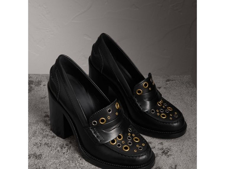 Eyelet Detail Leather Heeled Loafers in Black - Women | Burberry United Kingdom - cell image 4