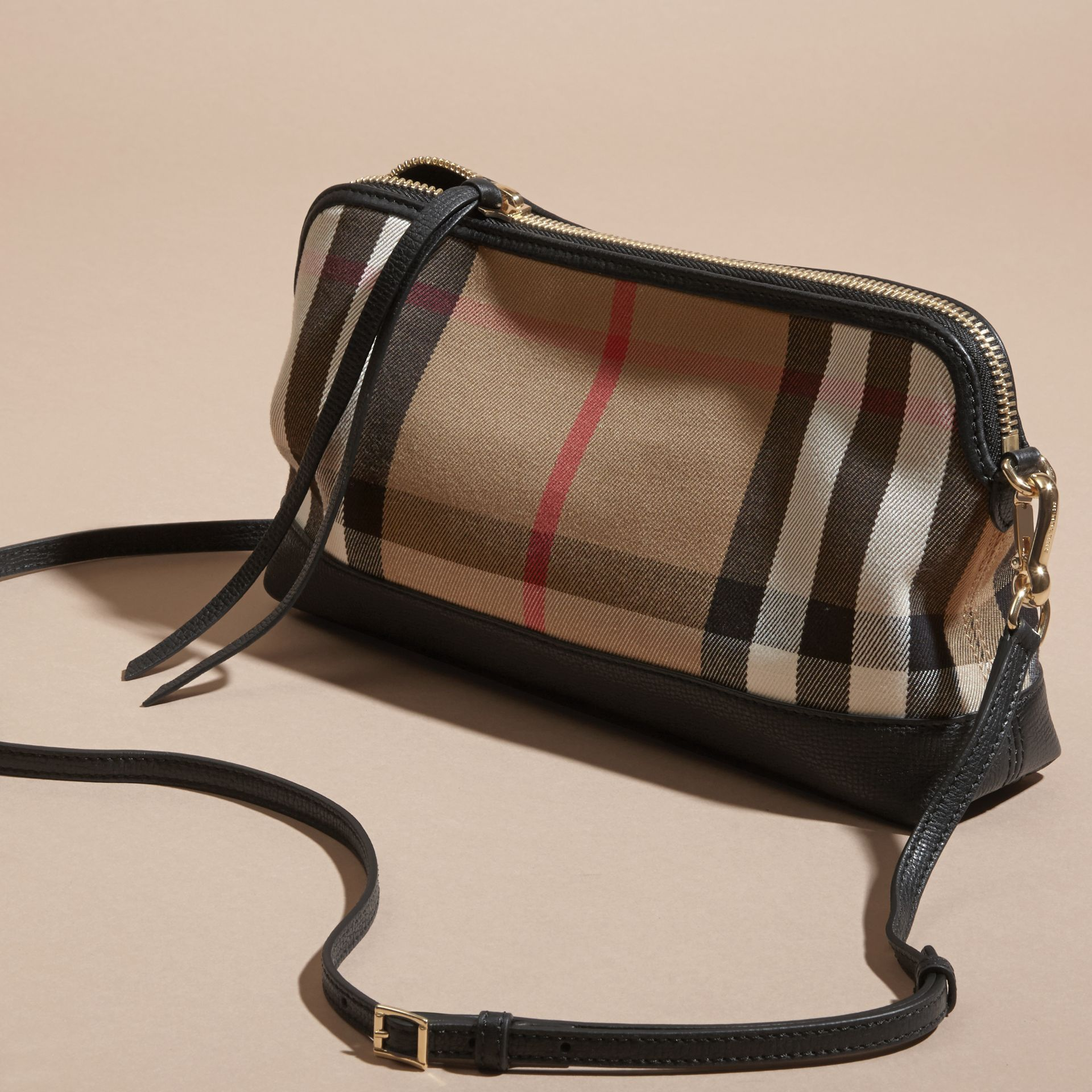 House Check and Leather Clutch Bag in Black - Women | Burberry Canada - gallery image 8