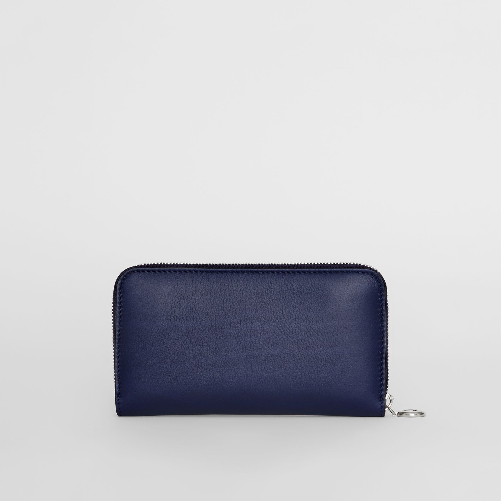 Embossed Crest Two-tone Leather Ziparound Wallet in Regency Blue - Women | Burberry - gallery image 4