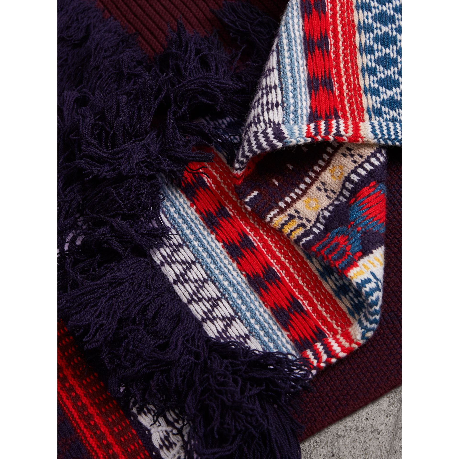Fair Isle Wool Cashmere Patchwork Scarf in Burgundy - Women | Burberry Canada - gallery image 2