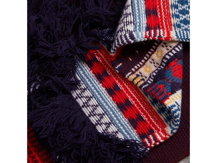 Fair Isle Wool Cashmere Patchwork Scarf in Burgundy - Women | Burberry - cell image 1