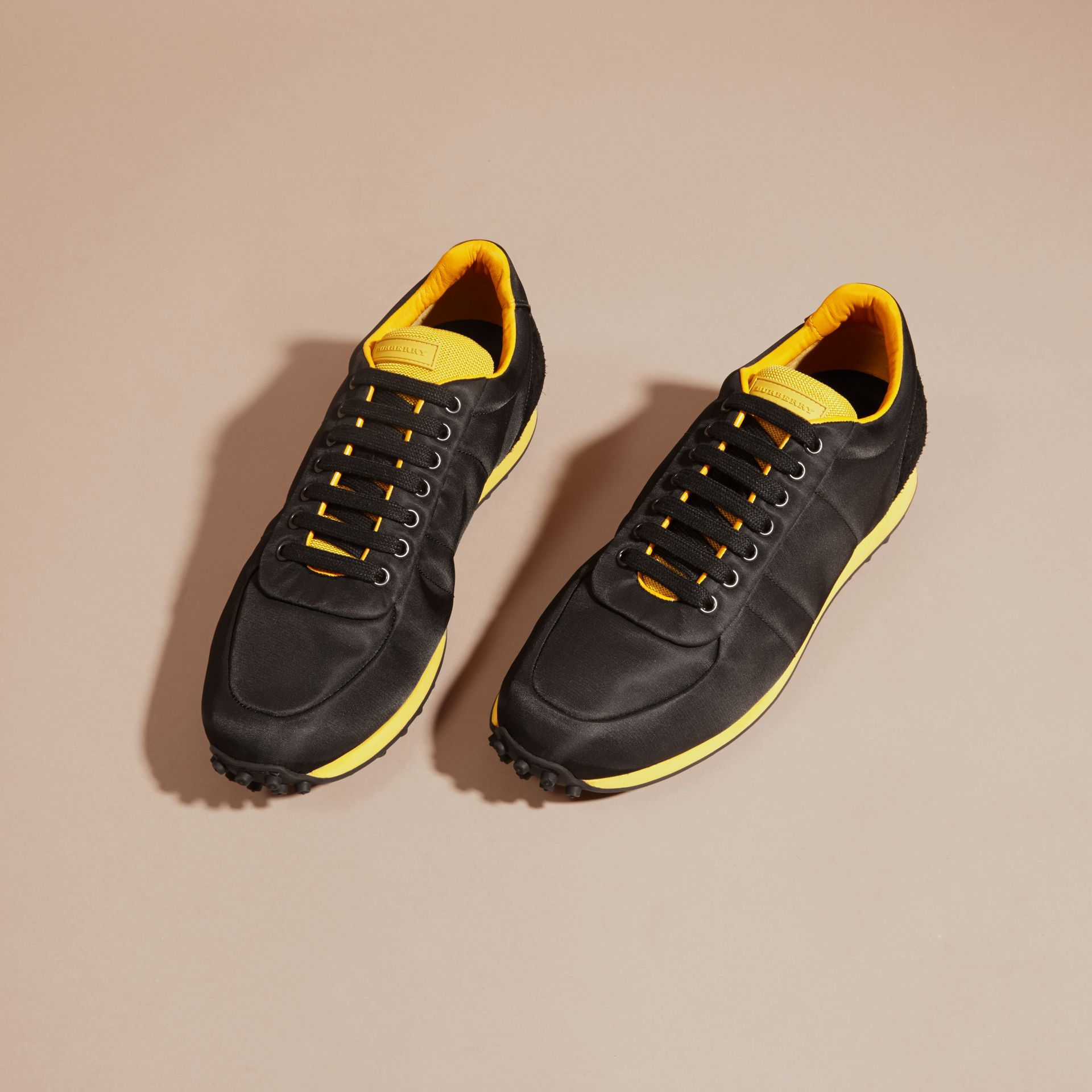 Black/burnt yellow Textural Trim Technical Sneakers Black/burnt Yellow - gallery image 3