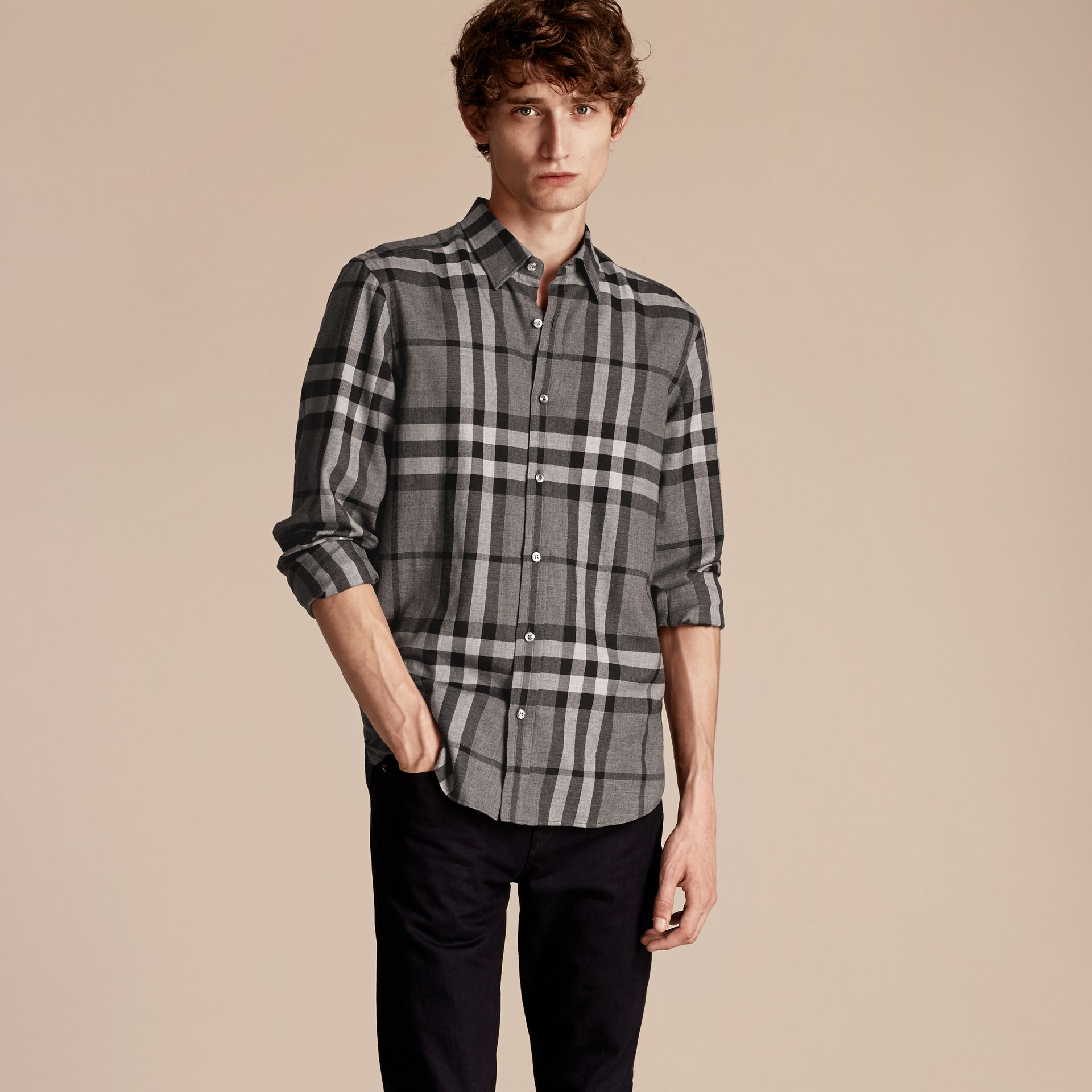 Mid grey melange Check Cotton Cashmere Flannel Shirt Mid Grey Melange - gallery image 6