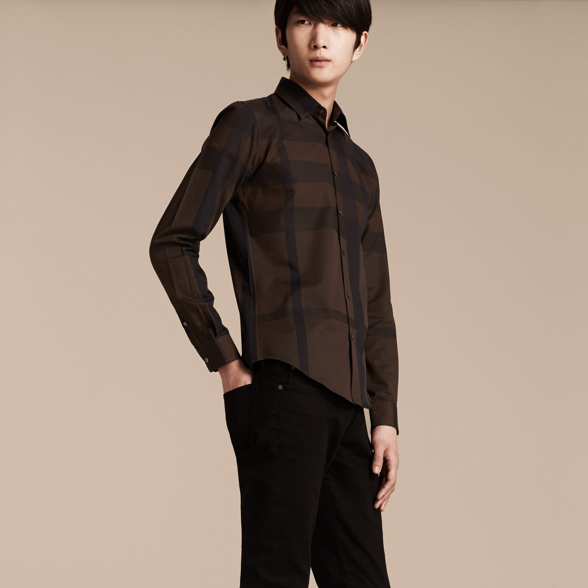 Chocolate check Check Cotton Shirt Chocolate - gallery image 5