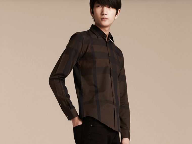 Chocolate check Check Cotton Shirt Chocolate - cell image 4